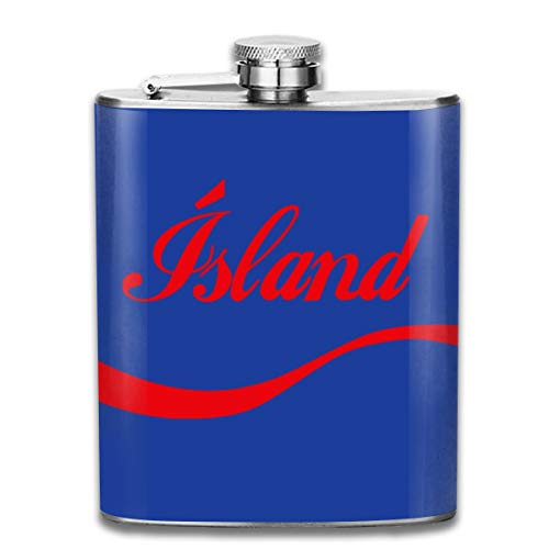 Euro 2016 Football Islande Island Wave Blue Print Flasque de poche Flag Flag Portable en acier inoxydable 200 ml
