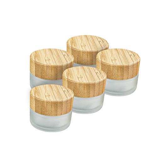 Wachsmann | Hochwertige Glastiegel & Pipetten-Flaschen mit Bambusdeckel | Für nachhaltige DIY-Naturkosmetik | Mit Geschenkverpackung | Reise Behälter für Salben & Lotionen (20g | 5 Stück)