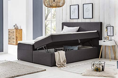 Furniture for Friends Möbelfreude® Polsterbett Bianca | 140x200 cm Anthrazit H2 | mit Bettkasten & hochwertiger Bonell Federkernmatratze | Boxspringbett-Optik