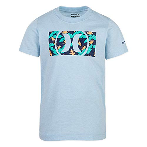 Hurley Boys' Little Icon Graphic T-Shirt, Chambray Blue Heather/Tropical, 4