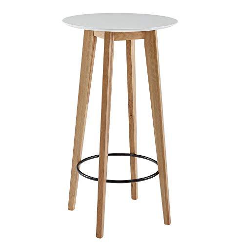 FineBuy Stehtisch 60x110x60 cm Weiß Rund | Bartisch für 4 Personen | Moderner Tisch für Bar | Design Partytisch Holz | Hochtisch Eiche Skandinavisch