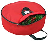 """Primode Christmas Wreath Storage Bag 48' - Handles Made of Durable 600D Oxford Polyester Material Storage Bag Extra Large 48"""" Holiday Wreaths Container (Red)"""