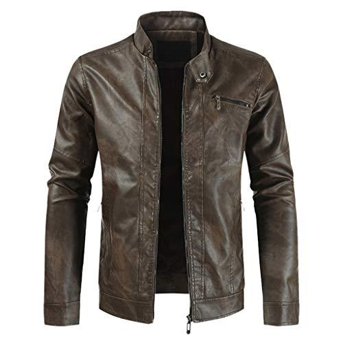 Leren jas voor heren, vintage jas, warme winterjas, casual, met hoge kraag, echt leer, klassieke top-outwear - zwart - XXXXX-Large