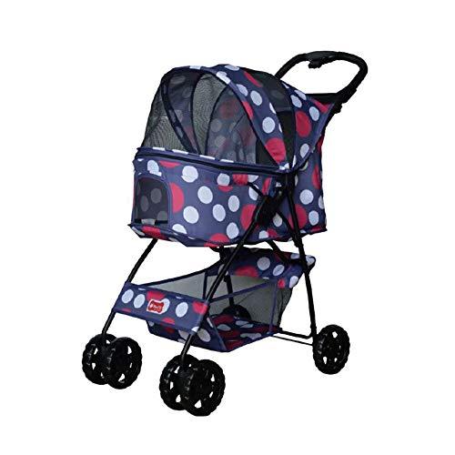 Hundebuggy, Katze, Kinderwagen, Haustier-Reisebuggy, Katzenkinderwagen, Buggy mit 4 Rädern, für mittelgroße und kleine Ausflüge