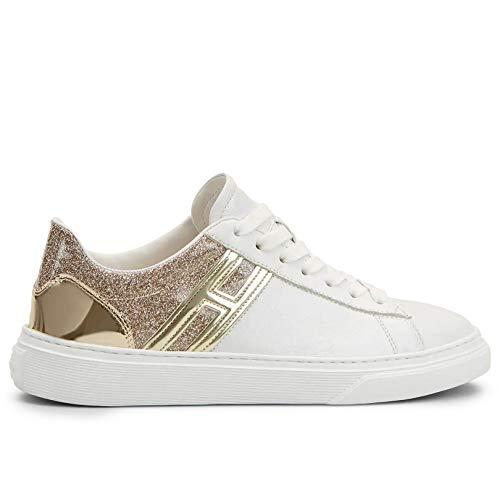 Hogan Sneakers voor dames H365 wit met glitter goud - HXW3650J970 N5Q0PQY - maat