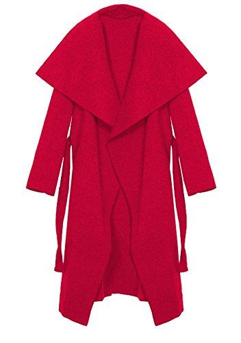 Kendindza Damen Mantel Trenchcoat mit Gürtel OneSize Lang und Kurz (One Size, Rot Lang)