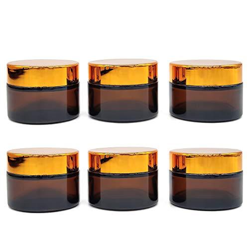 JJYHEHOT 6 Stück Cremetiegel aus Glas mit Schraubverschluss Schraubdeckel Amber Glas Flasche Leere für Kosmetik Cremes Lotionen ätherische Öle