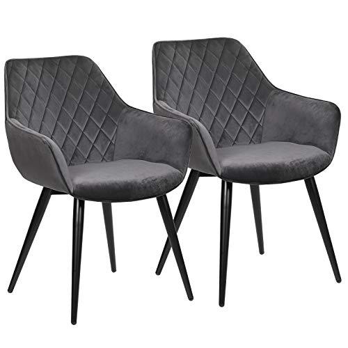 WOLTU Esszimmerstühle BH153dgr-2 2er Set Küchenstühle Wohnzimmerstuhl Polsterstuhl Design Stuhl mit Armlehne Samt Gestell aus Stahl Dunkelgrau