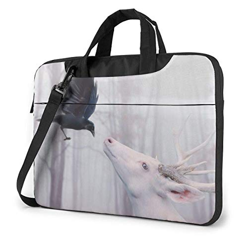 Laptop Shoulder Bag Carrying Laptop Case 15.6 Inch, Crow with Deer Computer Sleeve Cover, Business Briefcase Protective Bag