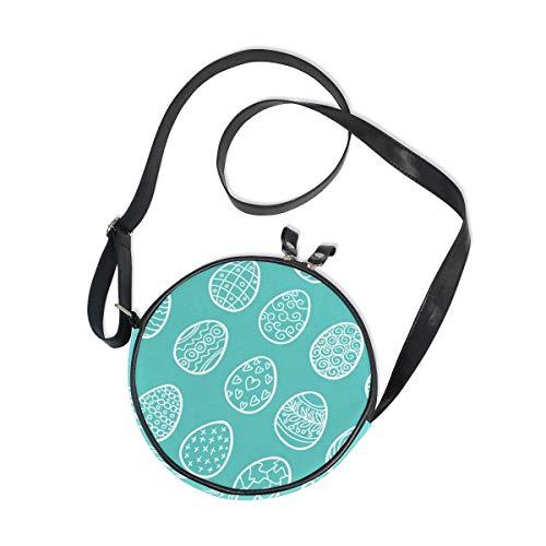 Emoya Damen Umhängetasche, rund, Motiv: Ostereier, blauer Hintergrund