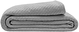Elite Home 100% GOTS Certified Organic Cotton Super-Soft Bed/Throw Blanket, Oyster, Full/Queen