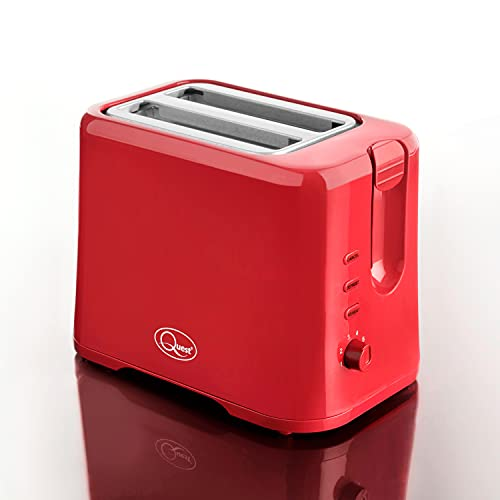 Quest 34299 2 Slice Toaster / Variable Browning Control / Reheat and Defrost / Crumb Tray and Cord Storage, Red