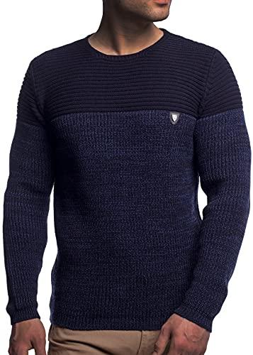 Herren Strick-Pullover Rundhals mit Logopatch | Männer Winter-Pullover |stylischer Herren Strick-Pulli | warmer Männer Pulli Grobstrick| Herren Basic Longsleeve Sweatshirt sweater K-114 Navy L