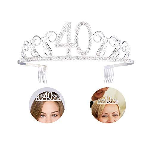 Joyeux anniversaire 40 couronne de diadème en cristal, diadème anniversaire couronne princesse couronnes de mariée diadème strass cristal diadème couronne avec bandeau avec peigne