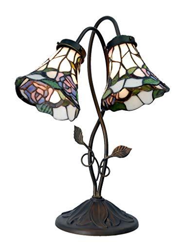 Lumilamp 5LL-5748 Tischleuchte/Tischlampe/Burolampe Doppelt Tiffany Stil glasschirm 34 * 28 * 47 cm 2X E14 max 40w dekoratives buntglas Tiffany Stil