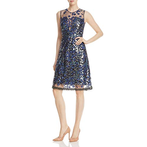 Elie Tahari Women's Olive Dress, Navy Multi, 4