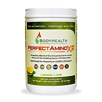 BodyHealth PerfectAmino XP Lemon Lime  60 Servings  Best Pre/Post Workout Recovery Drink 8 Essential Amino Acids Energy Supplement with 50% BCAAs 100% Organic 99% Utilization
