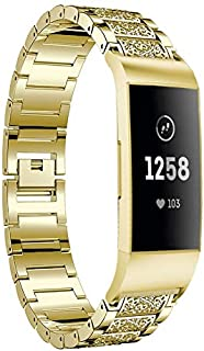 Lcg Diamond-Studded Solid Stainless Steel Wrist Strap Watch Band for Fitbit Charge 3(Black) (Color : Gold)