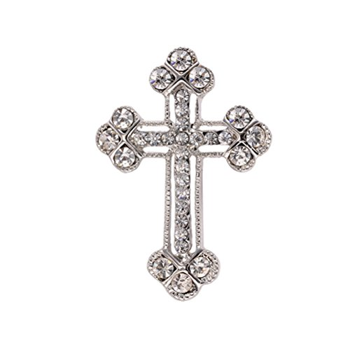 OULII Broches de Perlas Elegante Material de Aleación Decoraciones de Ropas Reglo Ideal para Día de Madre para Mujeres Niñas (Cruz)