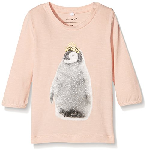 Name It Nitfingvin Ls Top NB T-Shirt À Manches Longues, Gris (Evening Sand), 62 Bébé Fille