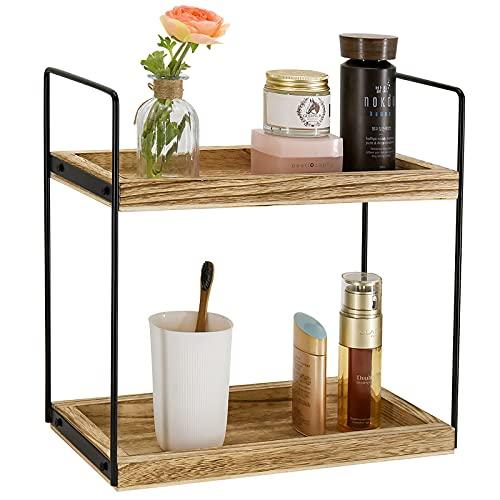 2 Tier Bathroom Countertop Organizer, Counter Standing Rack Cosmetic Holder, Countertop Storage Shelf Cosmetic Organizer Holder, Detachable Kitchen Spice Rack Wire Basket Storage Counter Shelf
