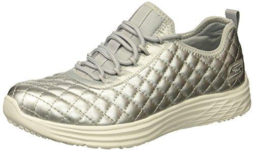 Skechers Damen Bobs Swift - Social Hustle Sneaker, Silber (Silver), 37 EU