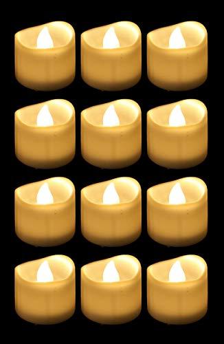 12 LED Teelichter mit Timer 6 Stunden an 18 Stunden aus elektrische flackernde batteriebetriebene Kerzen Warmweiß, Durchmesser und Größe3.6cm