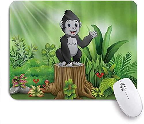 Alfombrilla de ratón para juegos, lindo bebé gorila de pie sobre plantas de tocón de árbol, alfombrilla de ratón con base de goma antideslizante para ordenadores portátiles Alfombrillas de ratón de 25