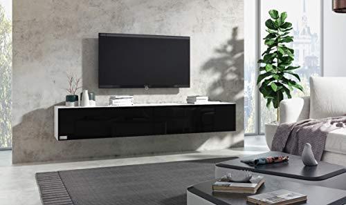 Wuun® Somero Korpus Weiß Hochglanz /100cm/Front Weiß-Hochglanz /10 Größen/5 Farben/ TV Lowboard TV Board Hängend Hängeschrank Wohnwand