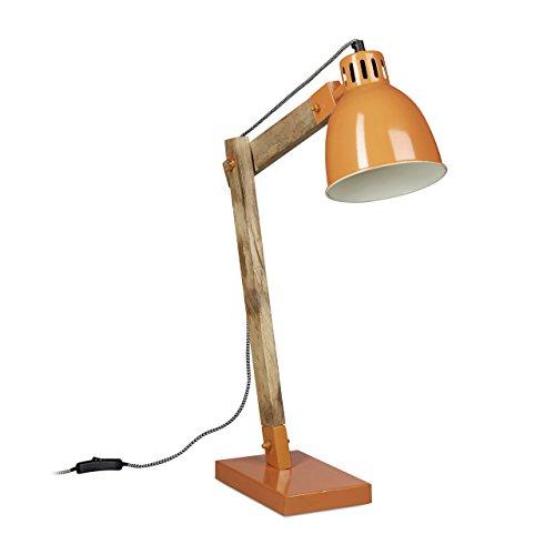 Relaxdays Schreibtischlampe Holz Skandinavisch, Vintage Holz-Design, HBT: 65 x 40 x 15 cm, Metallschirm, Leselampe, orange