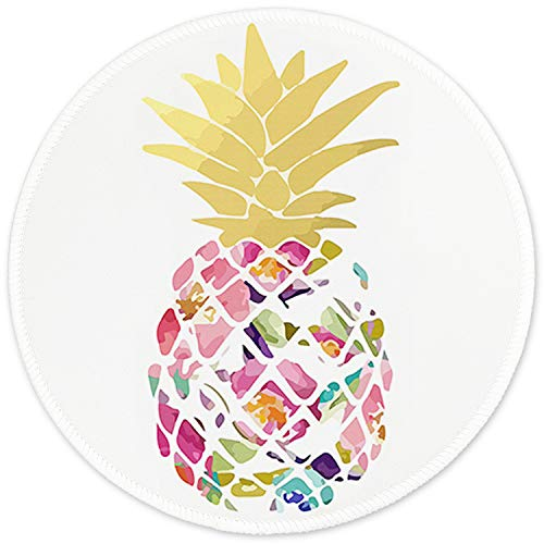 Mouse Pad with Design, ITNRSIIET Small Custom Mouse Mat for Women and Girls, Enhanced Thickness, Dual Stitched Edges, Ultra Soft, Cute Round Mousepad for Computer Office Gaming Laptop Mac, Pineapple