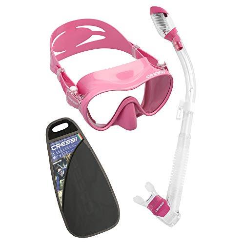 Cressi F1 & Dry Set - Combo Conjunto de Máscara y Snorkel para Adultos, Unisex, Rosa