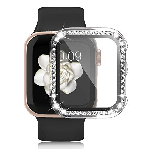 Apple Watch Case with Tempered Glass Screen Protector for iWatch 40mm Series 6/5/4/SE, Anti-Scratch Hard PC Bumper Full Body Cover Bling Diamond Rhinestone Frame for Women Girls Accessories