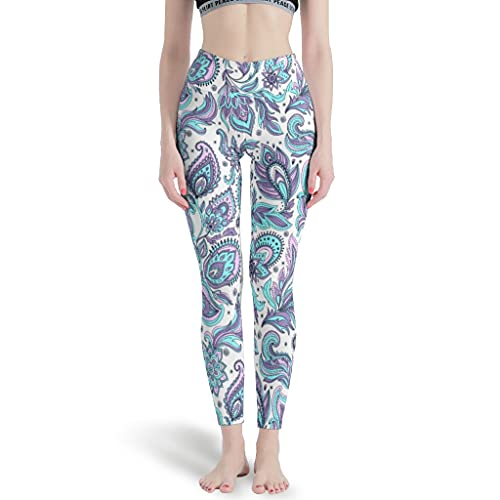 Elucassi Leggings de flores para mujer, pantalones de yoga para entrenamiento
