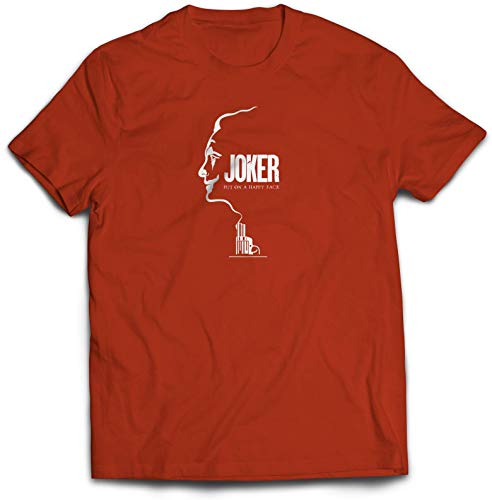 Joker Gun Smoke T-Shirt - Movie Cinema Thriller Theatre Tee Present Vintage Design Twin Needle Collar 100% Combed Ringspun Cotton High Stitch Density Extreme Comfort (Red, Small)