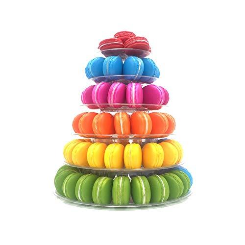 candora 6-lagig rund Macaron Tower Kuchen Ständer Macaron Display Rack für Hochzeit Geburtstag Dessert Ständer Kuchen Teller