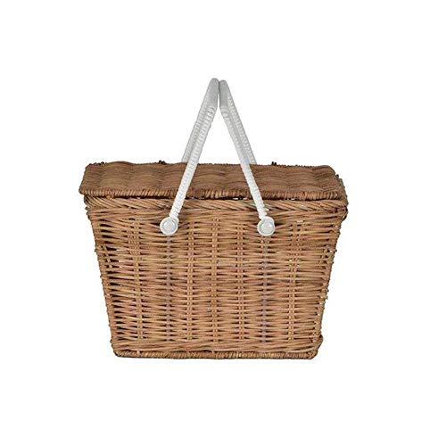 Picknickkorb & Weidenkorb & Großer Einkaufskorb Henkelkorb Korb mit Deckel für Camping und Outdoor Party,Instagram Stil,Weiß