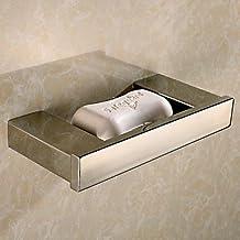 JUAN Bathroom Soap Dish HolderKitchen Toilet Soap Dishes (Color: Silver) (Color : Silver)