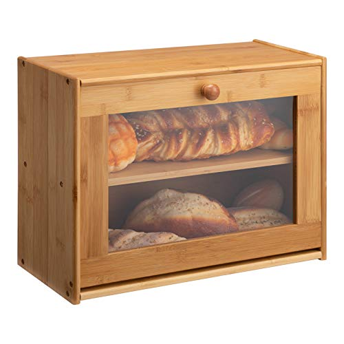 HollyHOME Large Double Layer Bread Box: Bamboo BreadBox Clear Window-Farmhouse Style Bread Holder for Kitchen Countertop Bread Storage Bin Holds 2 Loaves (Self-Assembly) 15.8'x 12.2'x 6.8