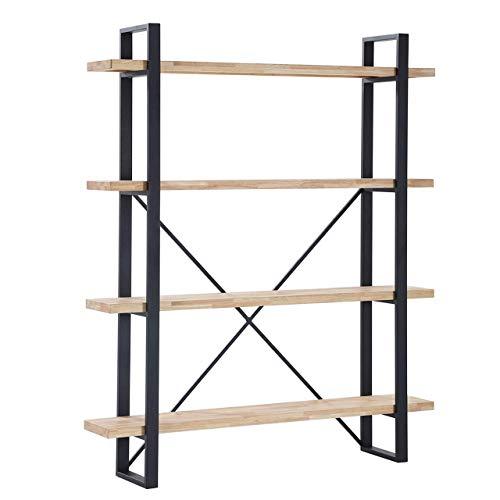 Plank, Estanteria Alta con 4 Estantes, Acabado en Roble Salvaje y Estructura Metalica Color Negro, Medidas: 150 cm (Ancho) x 180 cm (Alto) x 35 cm (Fondo)