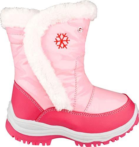 Winter-Grip Schneestiefel Junior Lack/Kunstpelz - Winterstiefel für Mädchen in rosa - Stiefel, Kinderstiefel (28)
