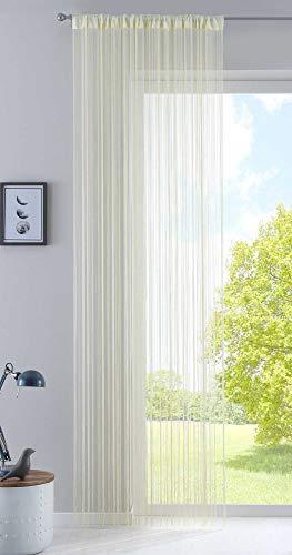 Fadengardine, HxB 270x90 cm, Creme mit Tunneldurchzug und eingenähtem Kräuselband, geeignet für Gardinenstangen und Gardinenschienen Fadenvorhang Fadenstore Raumteiler, 20303CN