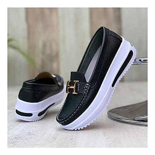 HSSZ Women's Comfortable Platform Loafers, Slip on Flat Boat Shoes Non-Slip Casual Driving Shoes, Casual Flat PU Walking Shoes, Non-Slip Comfort Driving Shoes, Wide Width Low Top Sneakers (Black,43)
