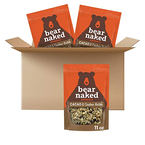 Granola, Bear Naked, Cacao and Cashew Butter, Non-GMO Project Verified, Fair-Trade Certified Cocoa and Gluten-Free, 11oz Bag (3 Pack)