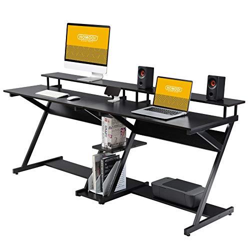 HOMOOI Scrivania per Computer per Due Persone Legno Nero a Forma di Z Postazione di Lavoro Tavolo per Ufficio Domestico Casa 200x60x84cm H01B3200B