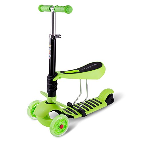 3 in 1 Mini Mitwachsender Dreirad Kinderroller Laufrad zum Laufenlernen LED Räder Scooter aus Aluminiumlegierung für Kinder von 2-5 Jahren in DREI Höhen Verstellbar (grün)