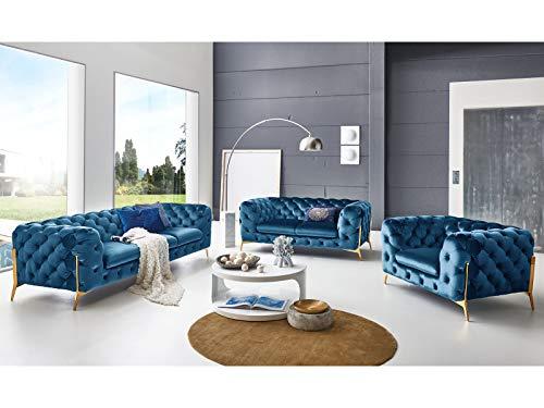 Designer Couchgarnitur 3-2-1-Sitzer Chesterfield Sofas Superior Samt-Stoff goldene Füße Knopfheftung Luxus Deluxe Möbel (Türkis)