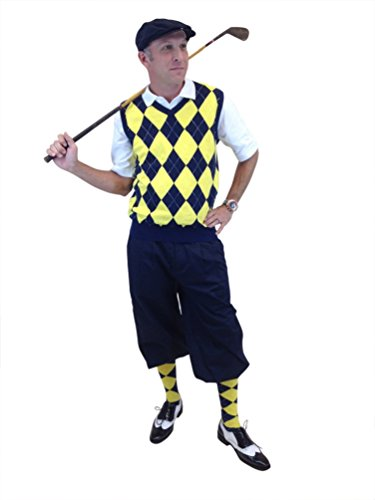 Men's Golf Outfit Navy Knickers, Navy/Yellow/White Sweater, Socks, Cap (34,M)