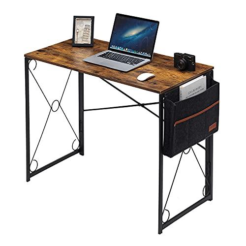 VECELO Schreibtisch Faltbar Computertisch Bürotisch 100x50x75(BxTxH) Arbeitstisch Klappbar PC Tisch für Homeoffice (Braun+Seitentasche)