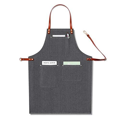 CWWHY Denim Waterproof Work Apron Strapazierfähige Schürze Leder-Schultergurt Multi-Tool-Tasche Verstellbarer Gürtel Zubehör Stylist Chef Artisan,D